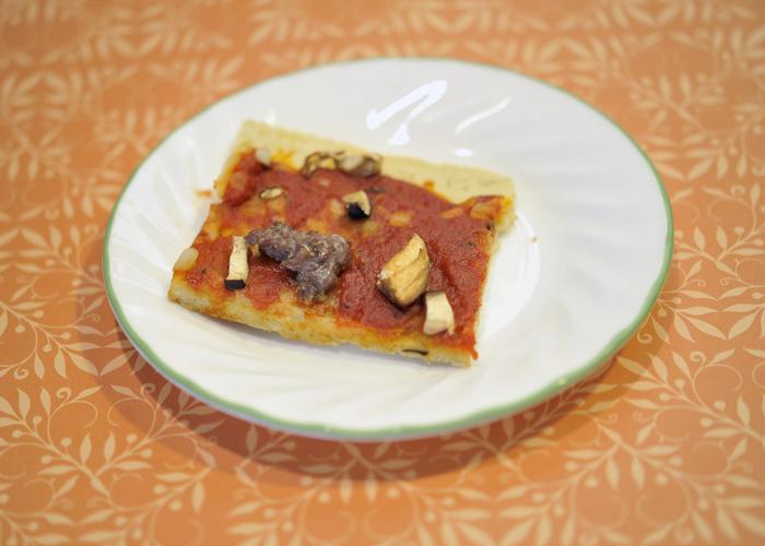 Lamb mushroom garlic pizza