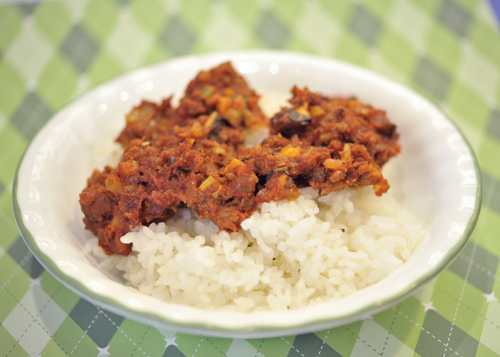 Organic Rice with Organic Red Lamb Dish