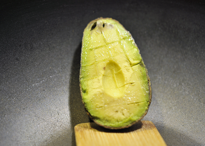 Cut organic avocado