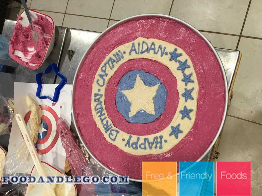 Free and Friendly Foods Captain America Cake