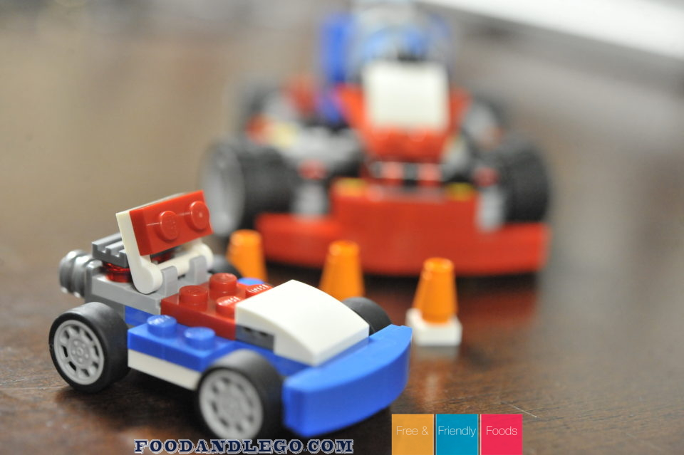 Free and Friendly Foods LEGO Review Blue Racer and Red Go-Kart
