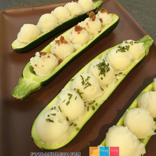 Free and Friendly Foods Mashed Potatoes Zucchini Boats