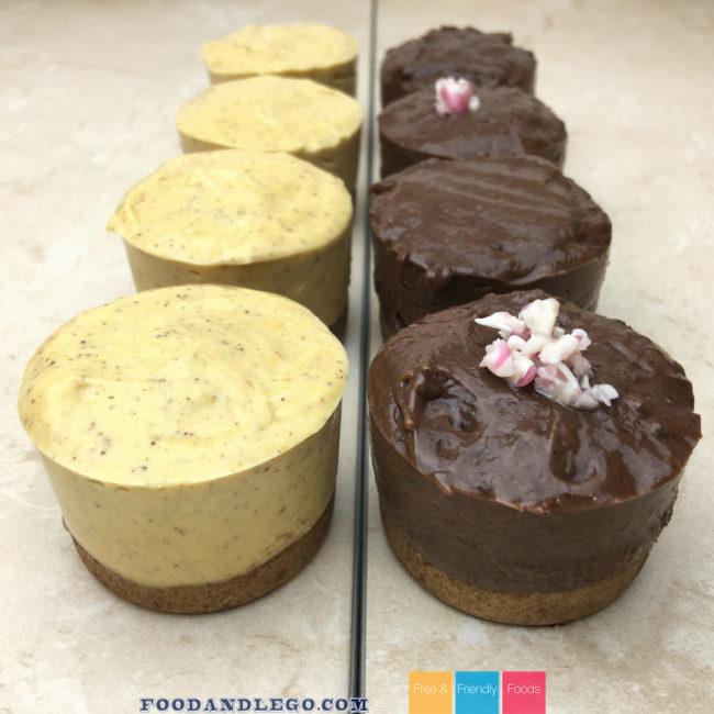 Gluten Free, Vegan, No-Bake Pumpkin Cheesecake & No-Bake Chocolate Cheesecake