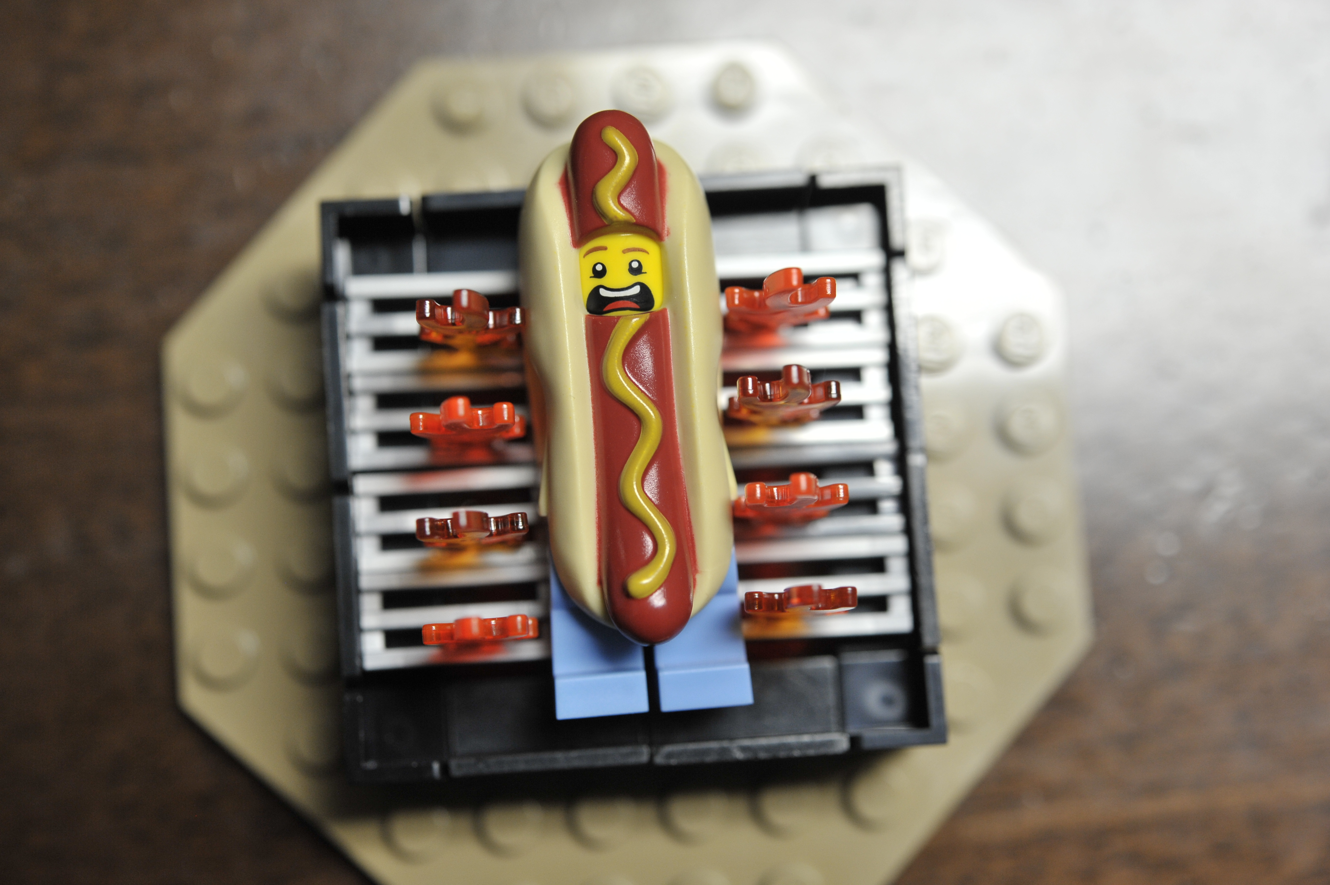 LEGO Hotdog Suit Guy by The Allergy Chef